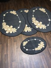 ROMANY GYPSY WASHABLES  SET OF 4 MATS DARK GREY BEIGE NON SLIP GYPSY OVAL RUGS